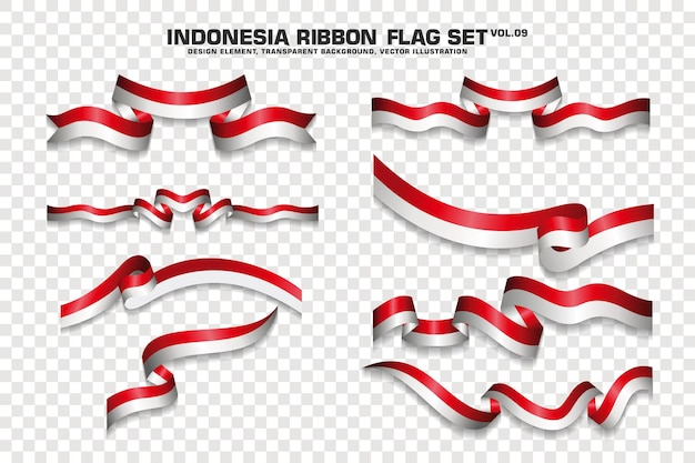 インドネシアリボン旗、デザイン要素のセットです。透明な背景に3d。ベクトルイラスト