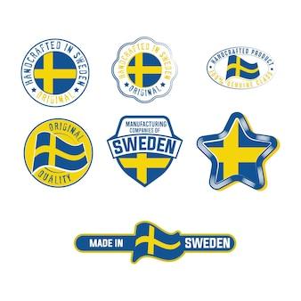 스웨덴 국기 제품 스티커가 있는 산업 라벨 세트