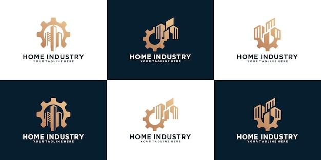 ギアと建物の産業ロゴのセット