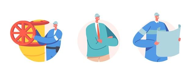パイプラインの近くの青写真計画と制服を着た産業労働者のセット。男性キャラクターは石油またはガス抽出産業で働いています。石油技術者の職業。漫画の人々のベクトル図、アイコン