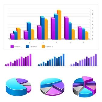 Infografics 요소의 집합입니다. 차트, 다이어그램, 통계, 그래프.