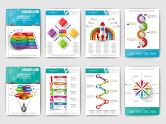 Set of Infographic brochures. Modern infographic vector elements for web, print, magazine,