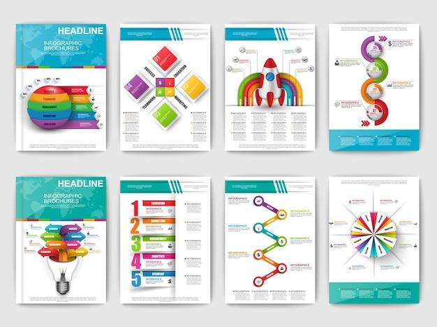 Infographicパンフレットのセット。ウェブ、プリント、雑誌、