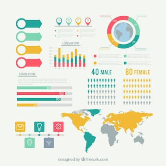 Set of infographic elements in flat style