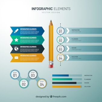 Set of infographic elements in realistic style