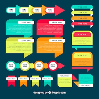 Set of infographic elements with different colors