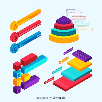 Set of infographic elements with isometric view