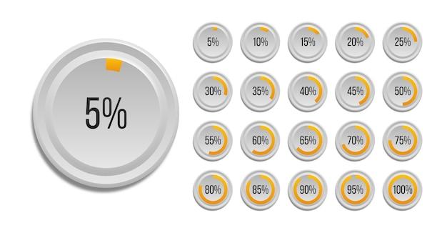 흰색 배경에 고립 된 infographic 비율 원형 차트의 집합입니다. 웹 디자인, 사용자 인터페이스 (ui) 또는 인포 그래픽 용 원형 아이콘의 세그먼트는 10 %-100 %입니다.