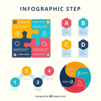 Set of infographic steps in different colors