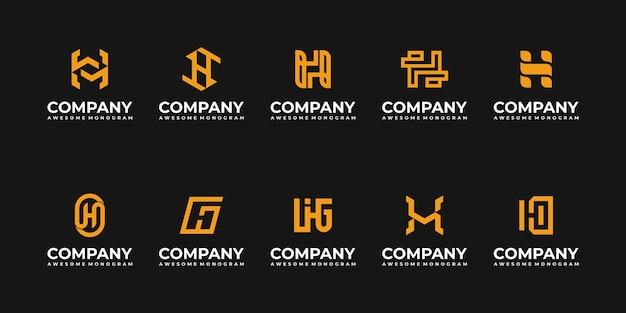 最初の文字hモノグラムロゴデザインテンプレートのセット