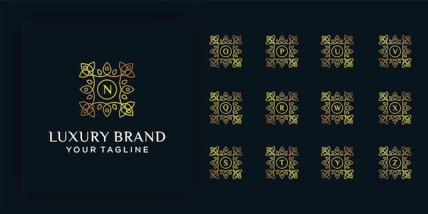 Набор начальной буквы роскошный орнамент вензель логотип. роскошный золотой начальный алфавит логотип шаблон