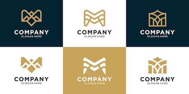 초기 편지 m 로고 디자인 세트