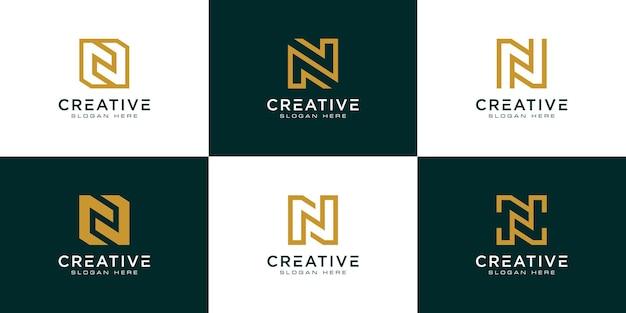 Набор начальной буквы n абстрактный шаблон логотипа