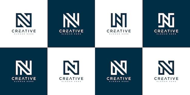 Набор начальной буквы n абстрактный логотип вектор шаблон