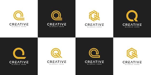 最初の文字qロゴデザインベクトルのセット