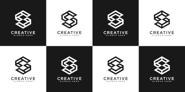 最初の文字s六角形のロゴデザインベクトルのセット