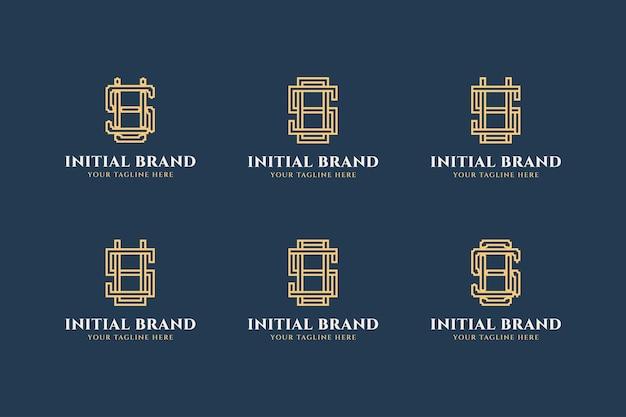 라인 컨셉과 미니멀 스타일의 초기 문자 s 로고 디자인 세트