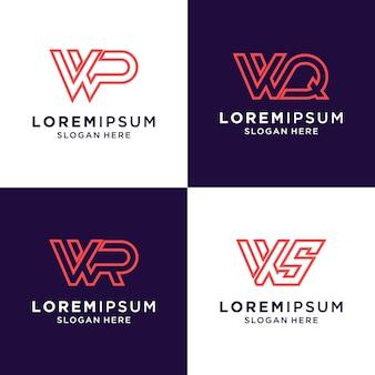 Набор начальной буквы w вдохновляющий логотип для бренда и бизнеса