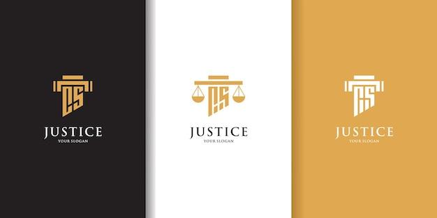 Набор начальных букв cs юридическая фирма логотип шаблон