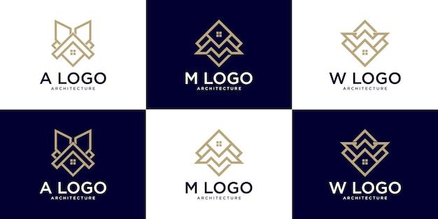 建築建築の初期ロゴのセット、ビジネスのロゴリファレンス