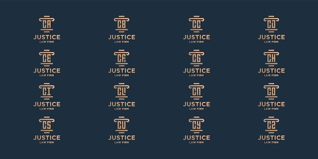 Набор инициалов c законная фирма шаблон дизайна логотипа