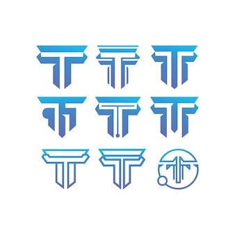 Tデザインテンプレートのイニシャルコレクションのセット