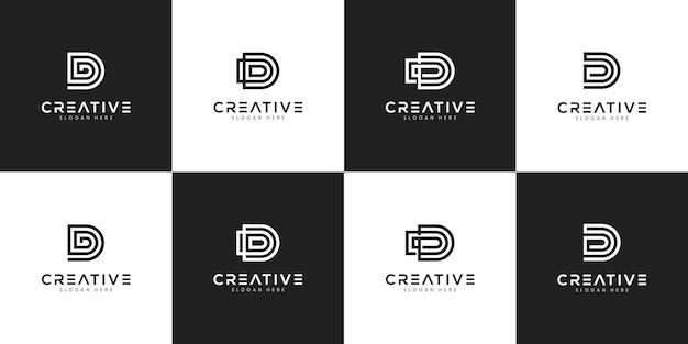 イニシャルdロゴデザインテンプレートのセット