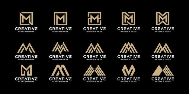 Набор инициалов буква m абстрактный дизайн логотипа