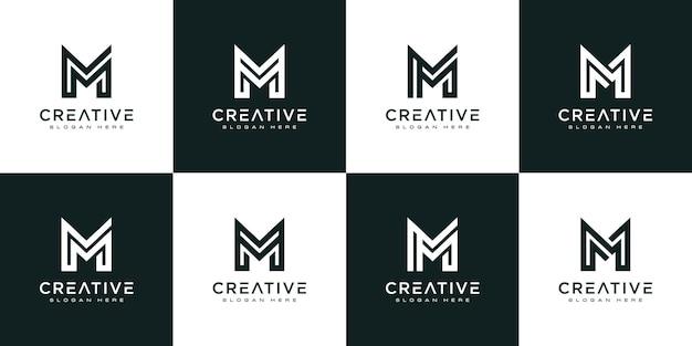 Набор инициалов буква m абстрактный векторный дизайн логотипа
