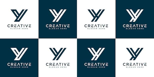 이니셜 편지 y 추상적인 로고 벡터 디자인의 집합