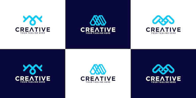 금융, 비즈니스 및 기술 회사 로고에 적합한 이니셜 m 세트