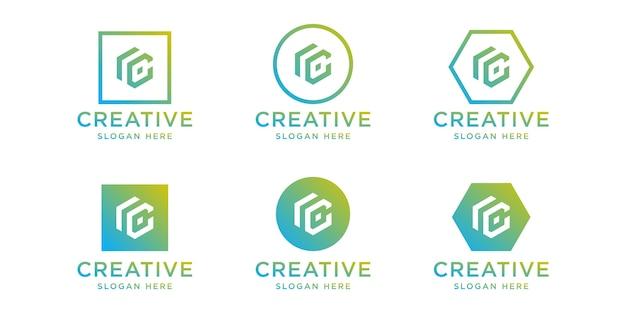 이니셜 rc 로고 디자인 서식 파일 집합