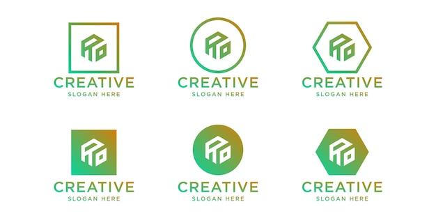 이니셜 ro 로고 디자인 템플릿 세트