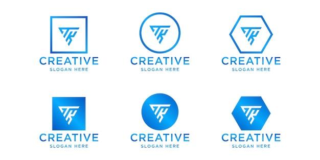 이니셜 tk 로고 디자인 템플릿 세트