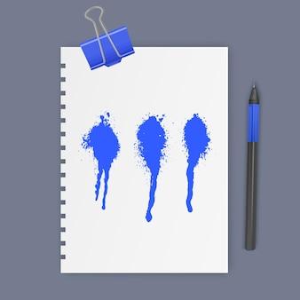 Набор чернильных пятен синего цвета, чернила капли векторные иллюстрации