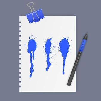 Набор чернильных пятен синего цвета векторные иллюстрации