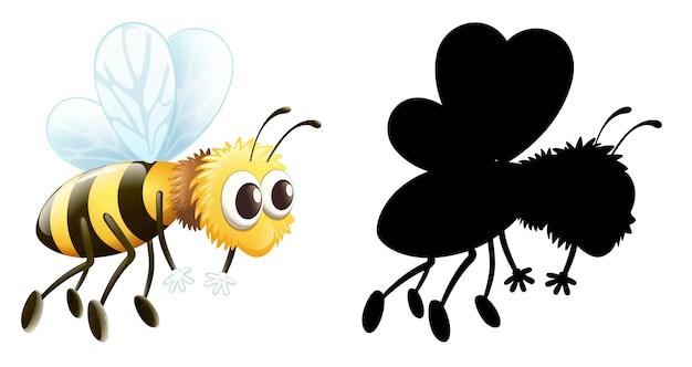 昆虫の漫画のキャラクターと白い背景のシルエットのセット