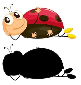 昆虫の漫画のキャラクターと白い背景の上のシルエットのセット