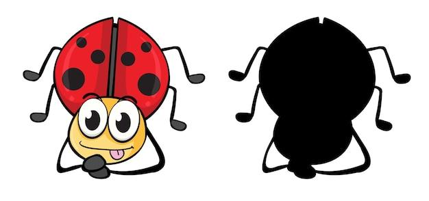 Набор насекомых мультипликационный персонаж и его силуэт