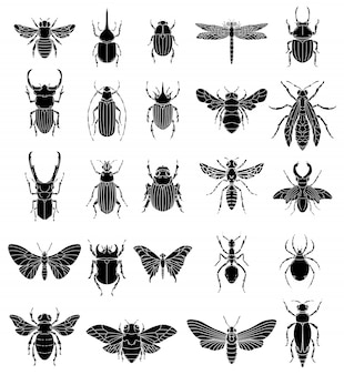 Набор иллюстраций насекомых на белом фоне. элементы для логотипа, этикетки, эмблемы, знака, значка. образ