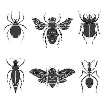 白い背景の上の昆虫のイラストのセットです。ロゴ、ラベル、エンブレム、記号の要素。図