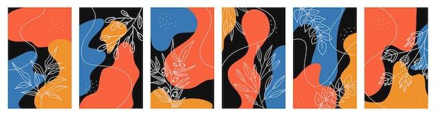 추상적 인 모양과 식물이있는 instagram 이야기 배경 세트