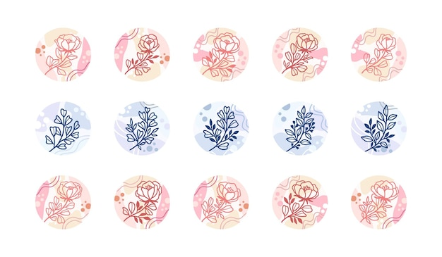 最小限の花と抽象的な要素を持つinstagramストーリーハイライトカバーのセット