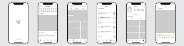 Набор рамки шаблона instagram для социальной сети