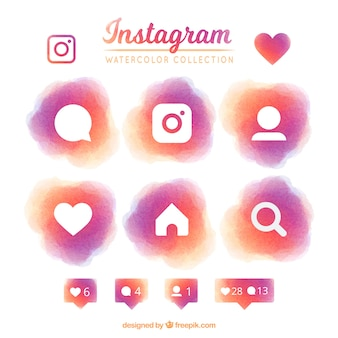 Set of instagram watercolor icons
