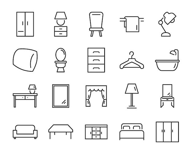 Набор интерьерных иконок, таких как мебель, стол, диван, унитаз
