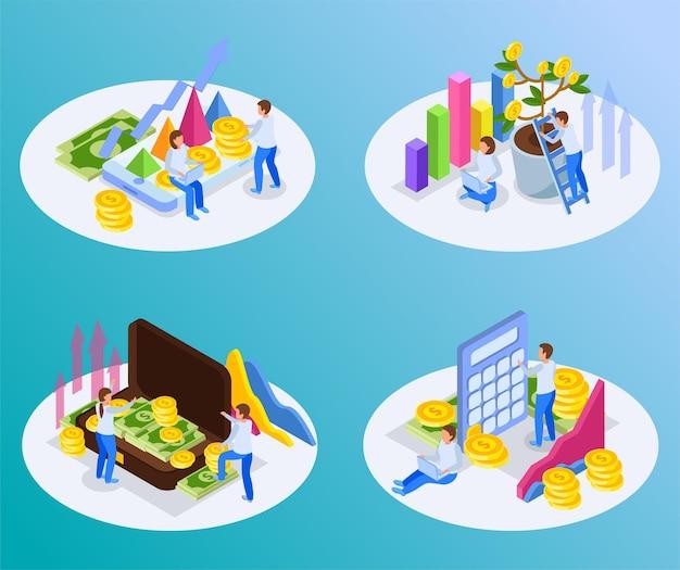 サークルプラットフォームと投資イラストラウンド構成のセット。ビジネスマンとお金