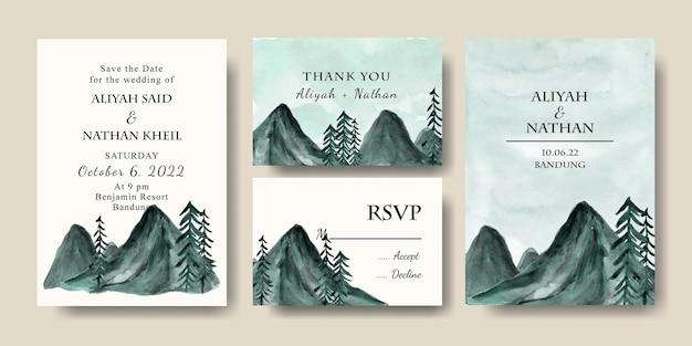 水彩の山の緑の風景の背景と招待カードテンプレートのセット