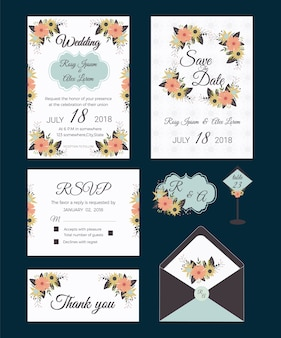花の要素と招待状のカードのセットウェディングコレクション