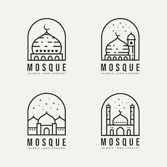 イスラムモスク建築ミニマリストラインアートロゴテンプレートベクトルイラストデザインのセット